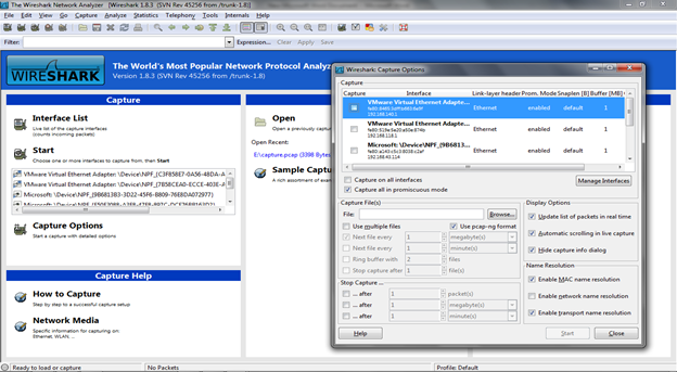 Figure 1. Wireshark Interface List and Options (Click to Enlarge)