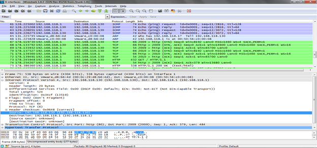 Figure 2. Wireshark packet capture color coding (Click to Enlarge)