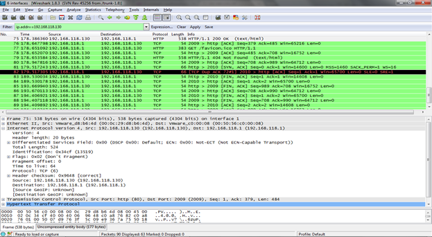 Figure 3. Wireshark Packet Filtering (Click to Enlarge)