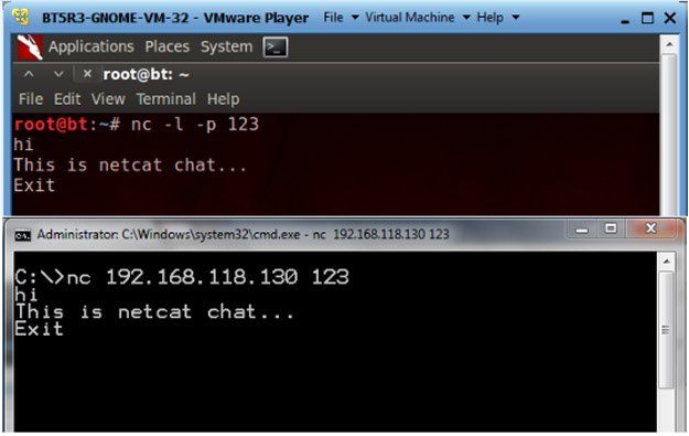 Figure 1. Chatting using Netcat