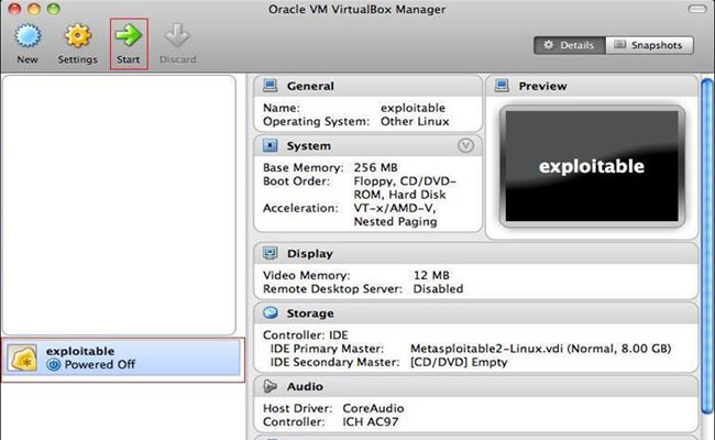 Running Metasploitable2 on VirtualBox