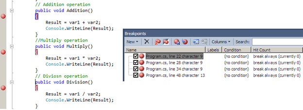 Figure 1.13 Breakpoints Window