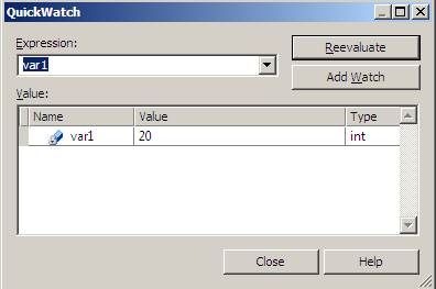Figure 1.20 QuickWatch window
