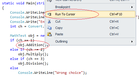 Figure 1.3 Run To Cursor Debugging