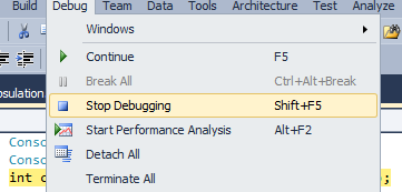 Figure 1.6 Stop Debugging