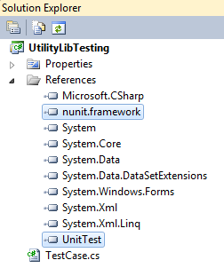 Figure 1.3 Add references of NUnit framework and UnitTest.dll