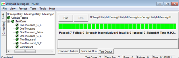 Figure 1.6 NUnit Test Report with No Error